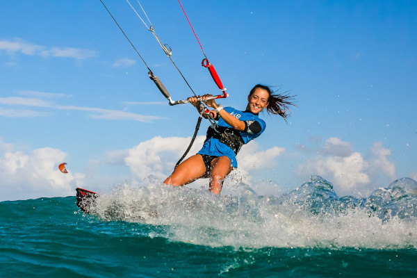 A kite boarder surfing in Puerto Rico.