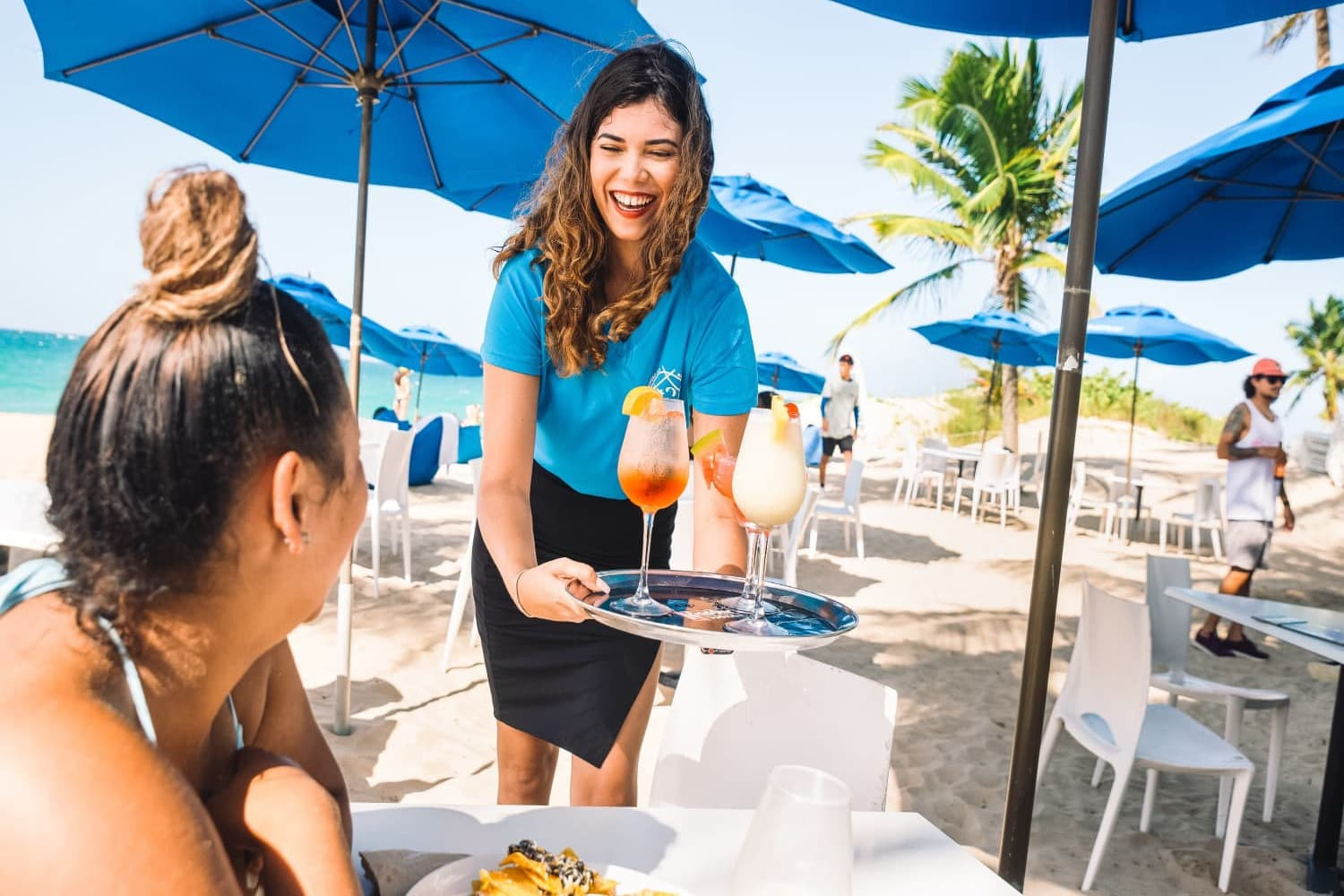 Drinks and appetizers are served on the beach at Numero Uno Beach Bar and Restaurant in Puerto Rico.